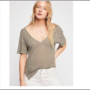 Free People Olive Striped Sunkissed Distress Top